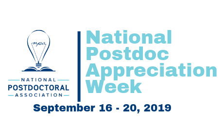 National Postdoc Appreciation Week Logo and September 16-20, 2019 dates